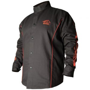 Black Stallion BSX Contoured FR Cotton Welding Jacket, Black with Red Flames – BX9C