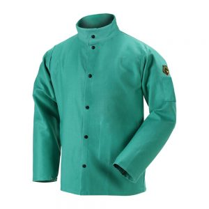 Black Stallion TruGuard 200 12 oz. FR Cotton Welding Jacket, Green – F2-30C