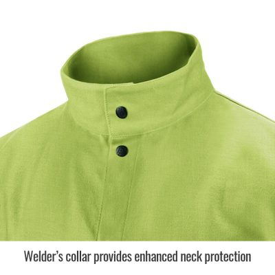 Black Stallion TruGuard 200 FR Cotton Welding Jacket, Safety Lime – FL9-30C